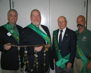 Dan Fitzgerald, Kevin Powers, Tom McBride, and Billie Whelan with the shillelagh